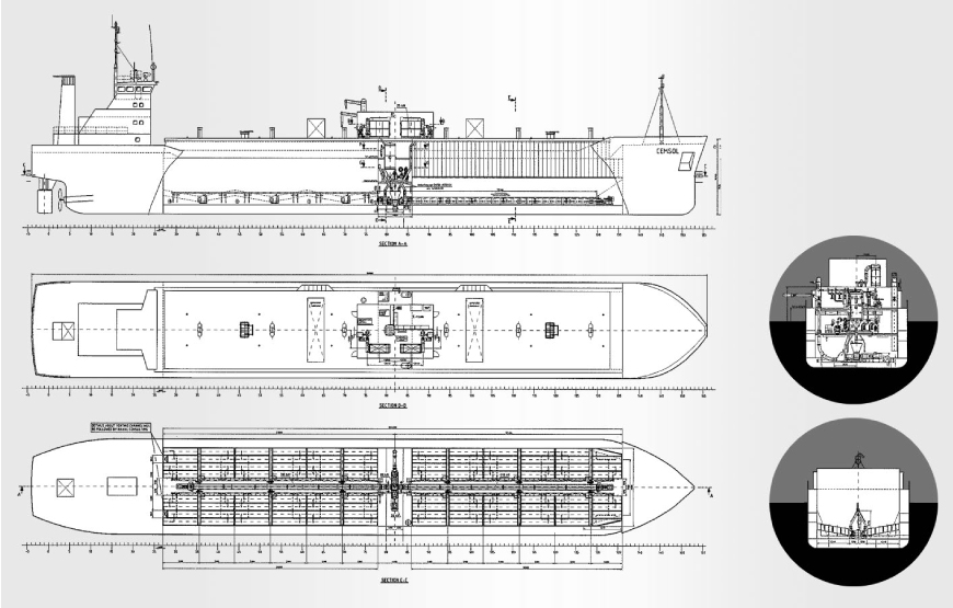 Technical draft of Cemsol cement-carrier with selfdischarging system